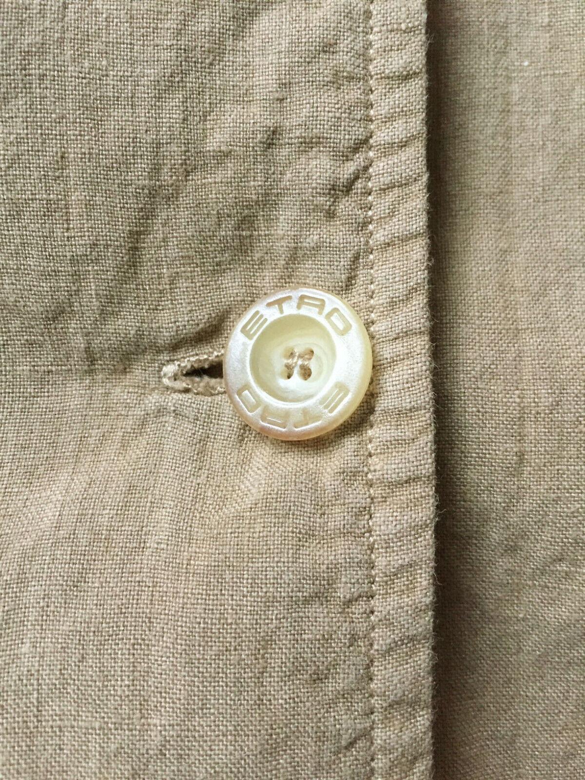 ETRO Womens Sz 44 / US 8 Tan Linen Jacket French … - image 3