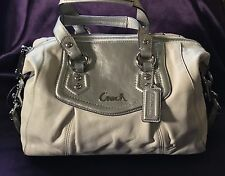 COACH F19247 Ashley Leather Ivory/White & Silve Covertible Satchel Purse BAG NWT