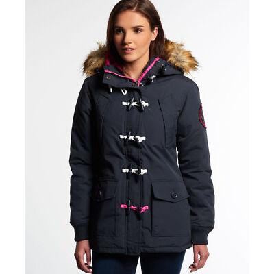 New Womens Superdry Everest Duffle Coat Navy