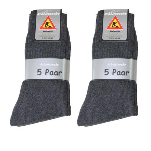 20 Paar Herren Arbeits Socken 92/% BW anthrazit Neu Größe 43//46