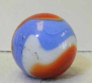 9115m Vintage Akro Agate Red White Blue Corkscrew Shooter Marble .85 In