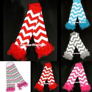 XMAS Baby Girl Chevron Stripes Waves Style Cotton Leg Warmer Legging with Ruffle