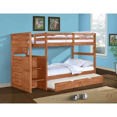 Ranch Stairway Bunk Bed with Free Trundle or Storage Drawers