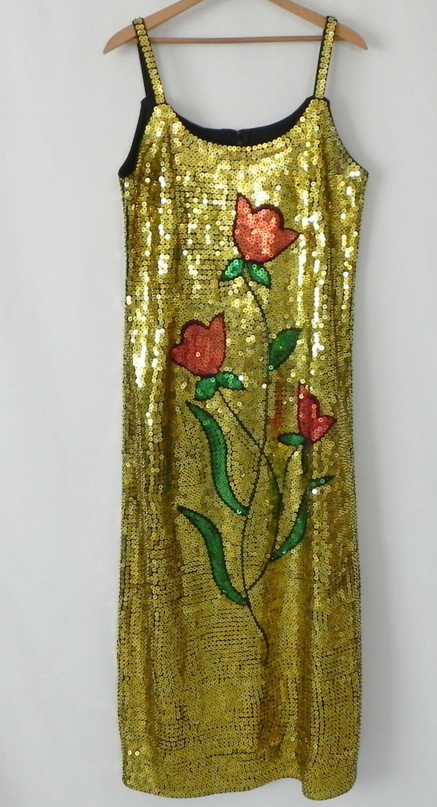 Vtg Sequin Dress Full Length Spaghetti Strap gold Tone Size X L