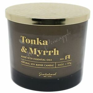 Scentsational-Natural-Soy-Blend-26oz-Cotton-3-Wick-Candle-Jar-Tonka-amp-Myrrh