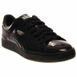 Puma-Basket-Matte-amp-Shine-Sneakers-Casual-Black-Mens