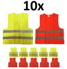 10-PACK Reflective Safety Vest, Class 2, High Visibility, XL Size, Orange Yellow