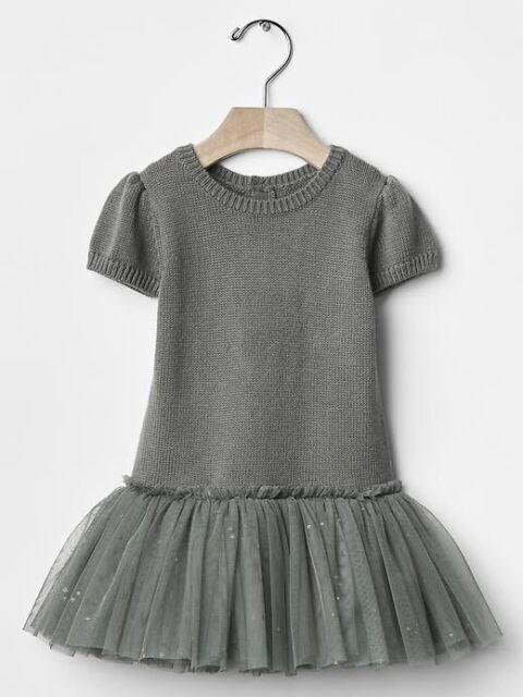 7e79310ed57b Gap Baby Girls Size 6-12 Months Gray   Gold Tulle Ballerina Sweater ...