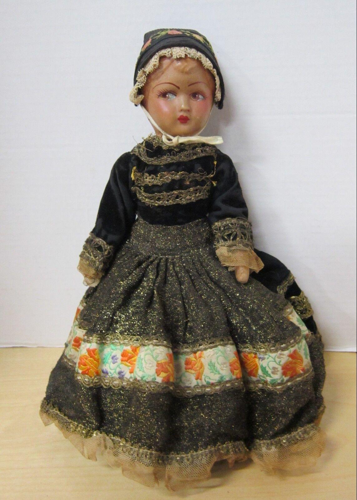 Antique 14  French papier mache shoulder head girl in original outfit  VGC