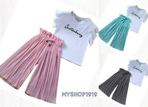 Girls Summer set Top and Pants 2 pcs sets Outfit Short Sleeve Age 3-11 years