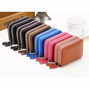 Accordion zipper women men leather wallet credit name card holder image is loading accordion zipper women men leather wallet credit name reheart Image collections