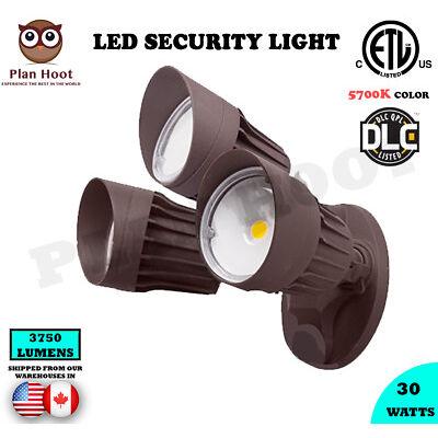 30 Watt 5700K Brown Finish ETL DLC Certified LED Outdoor Security Wall Light
