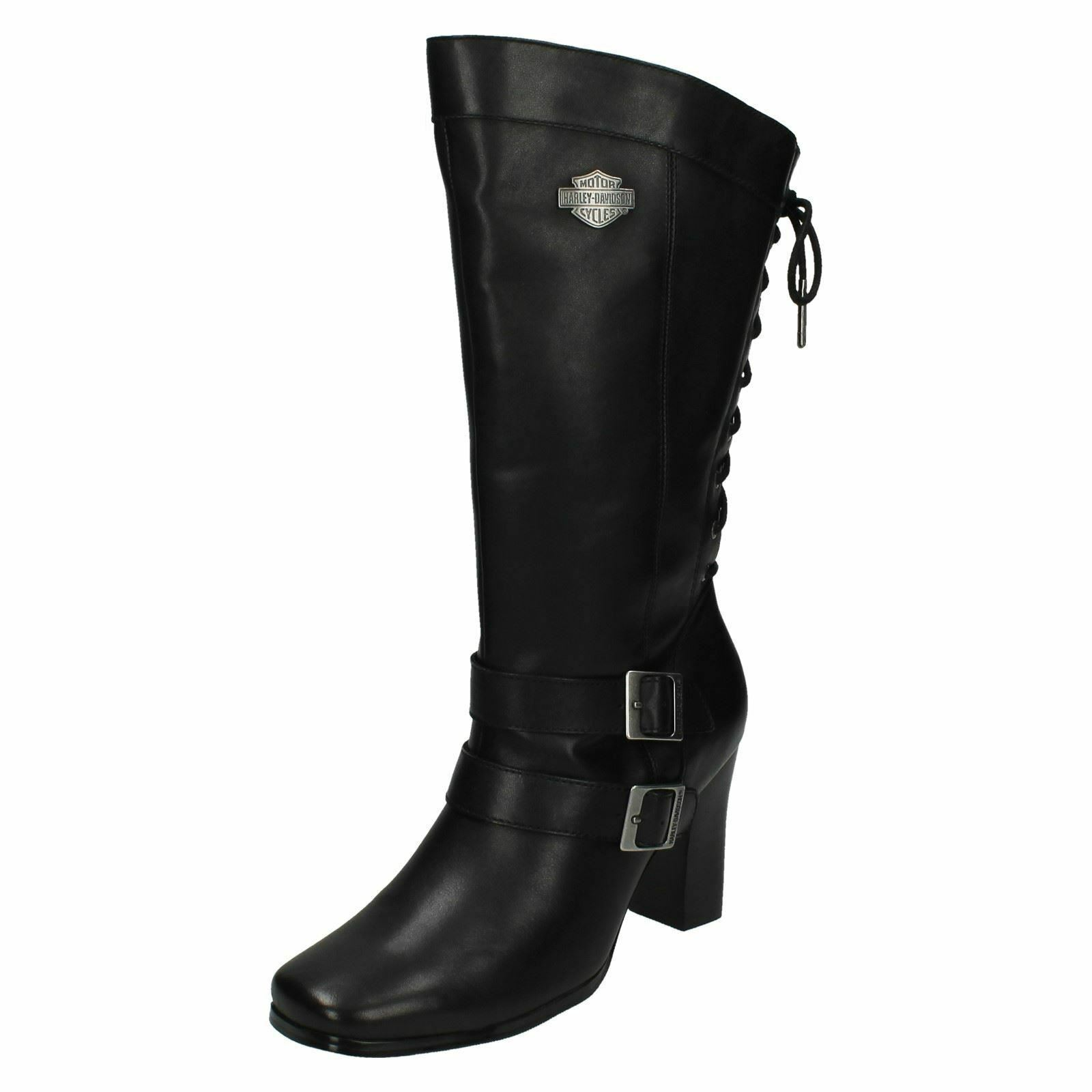 Ladies Black Leather Wide Harley Davidson Heeled Biker Boots Shelia