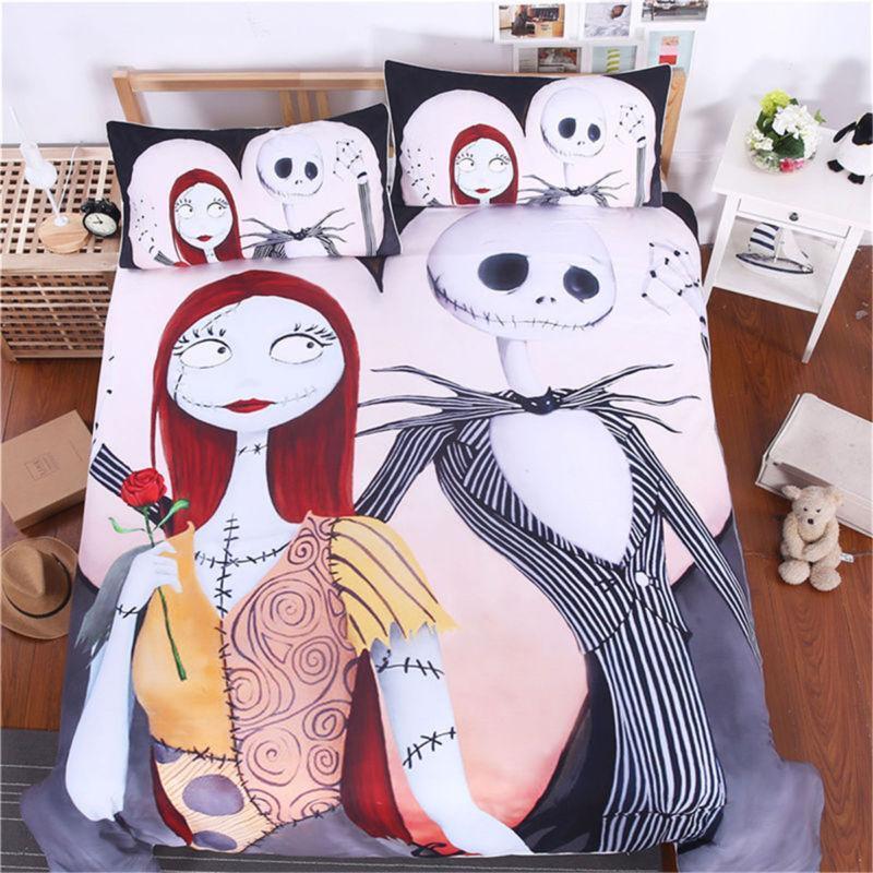 Bedding Set Skull Girl Scary Zipper Duvet 3Pcs Quilt Covers Pillowcase Polyester