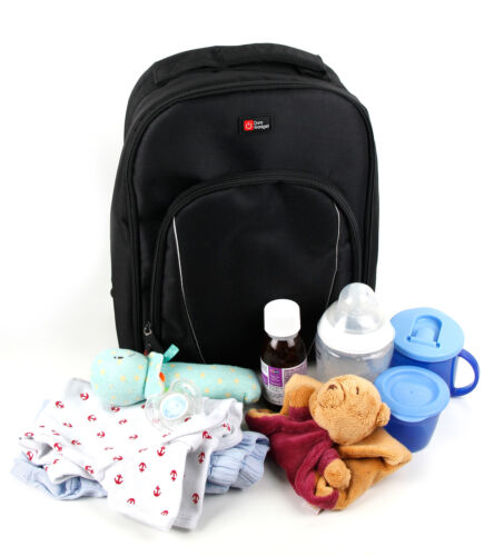 Care Black Rucksack Baby Changing Backpack w// Raincover and Storage Dividers