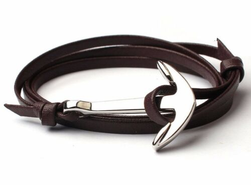 Mens Silver Gold Stainless Steel Anchor Leather Bracelet Wrap Around Bangle UK