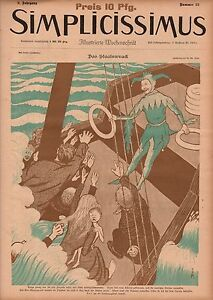 1897-Simplicissimus-Art-Nouveau-Jester-and-the-Sinking-Ship-Extremely-Rare