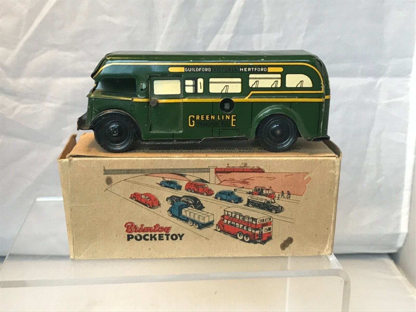 WELLS BRIMTOY TINPLATE POCKETOY    GREEN LINE BUS   SLIDING DOOR    BOXED