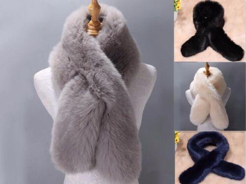 Winter Women Ladies Faux Fur Scarf Neck Long Warmer Wrap Collar Shawl Stole