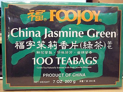 Foojoy Chinese Jasmine Green Tea - 100 Tea Bags 7 oz FAST SHIP