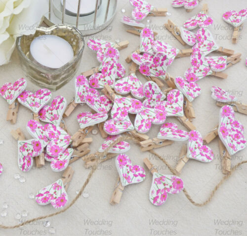 Details about  /30mm Clothes Peg with 25mm Pink Kitsch Floral Hearts Shabby Chic Vintage Wedding