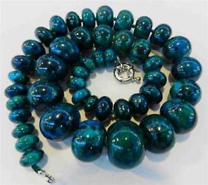 Charming-10-20mm-Azurite-Gemstone-Phoenix-Stone-Roundel-Beads-Necklace