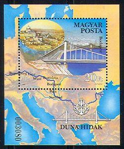 Hungary-1985-Bridges-Architecture-Transport-River-Danube-Maps-1v-m-s-n29622