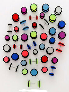1 PAIR 16g Acrylic Cheater Cheaters Ear Plugs Blue Green Pink Off White Purple