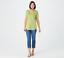 thumbnail 4 - Isaac Mizrahi Live! Essentials Pima Cotton V-Neck Tulip Hem Top Green L A379612