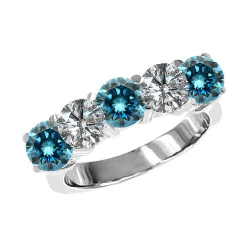 0.75 Carat bluee G-H SI2 5 Stone Round Diamond Solitaire Ring 14K White gold