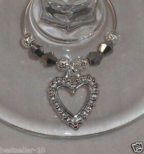 6 x Wine Glass Charms Silver Hearts Wedding day / Christmas table ...