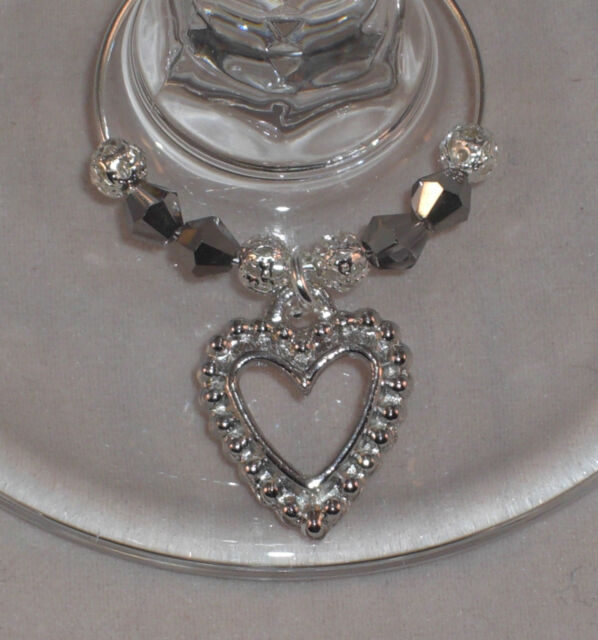 10 x Wine Glass Charms Silver Hearts Wedding day Christening Hen Party favours