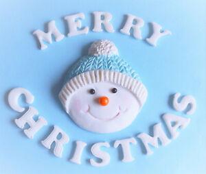 Edible-christmas-cake-decoration-topper-Edible-snowman-cake-topper-decoration