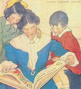 Vintage JESSIE WILLCOX SMITH Print Victorian Mother & Children Reading Book