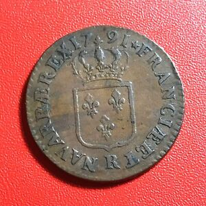 1529-RARE-Louis-XVI-Sol-1791-R-Orleans-Qualite-incroyable-FACTURE