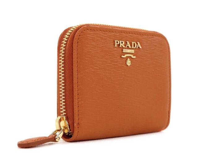 4ebdae839cfb PRADA Wallet Card Case Portamonete Vitello Move Leather Orange for ...