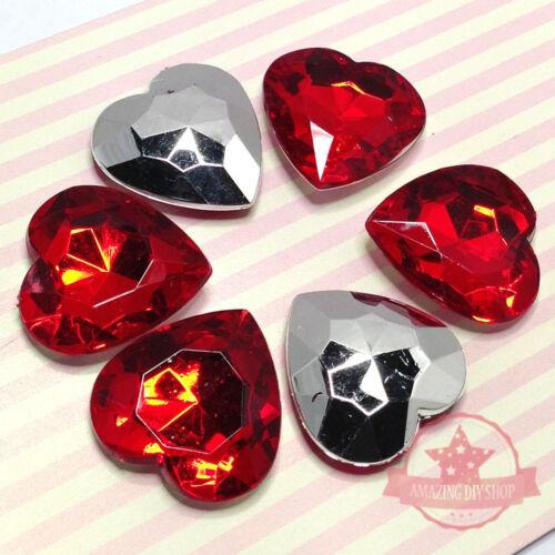 6 pcs 25mm x 25mm Heart Red Silver Acrylic Fancy stone Deco DIY