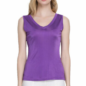 Pure-Silk-Knit-Women-039-s-V-Neck-Double-Side-Sleeveless-Top-Blouse-Tank-T-Shirt