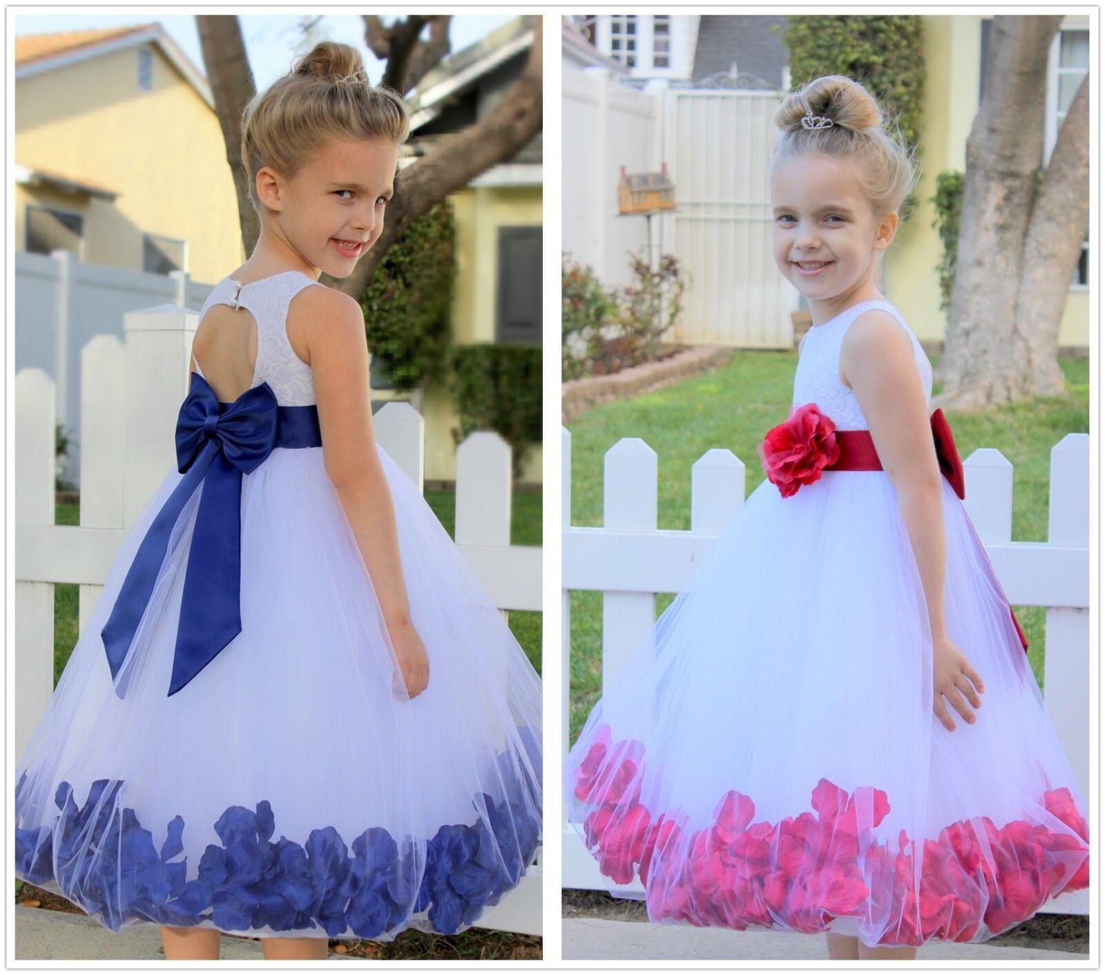 New Floral Lace Rose Petals Flower Girl Dress Toddler Dress Baptism dresses 185T