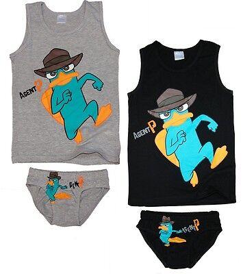 Phineas und Ferb Unterwäsche Set Garnitur 116 122 128 134 140 146 Slip Hemd Boy