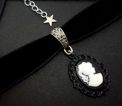 nuevo. Un Ladies Girls Black Velvet Cameo Gargantilla Collar