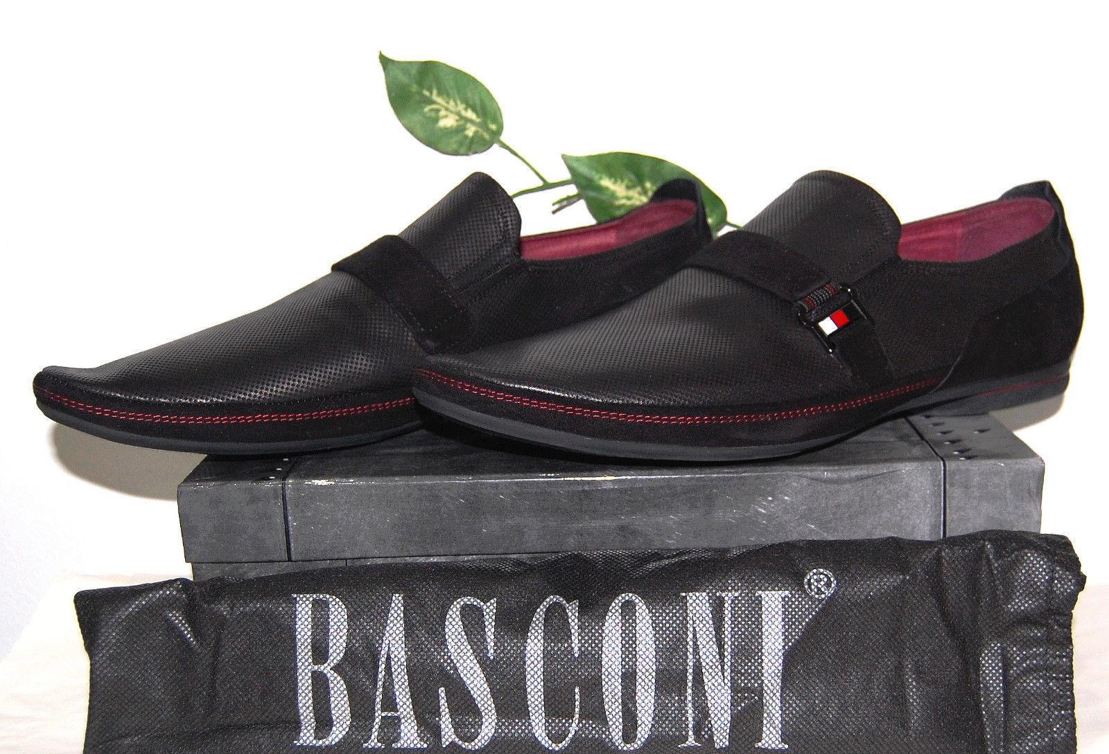 Basconi Noir Homme Mocassin Cuir Daim Bordure dots robe chaussures taille US 12 EU 45
