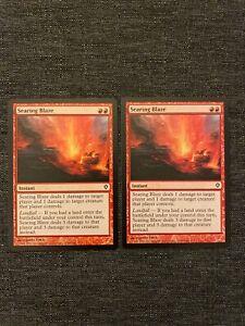 2x Searing Blaze NM MTG Worldwake Magic