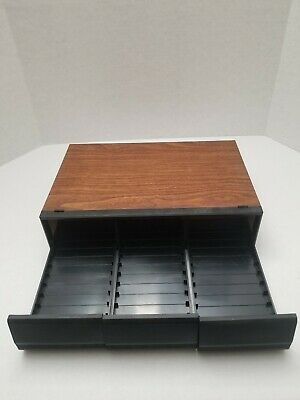 In Style; Aggressive Vintage 3-drawer Audio Cassette Tape Holder Storage Faux-wood Grain Fast Ship Fashionable