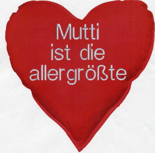 11406 36cm Herz Kissen Herzkissen ♥ Mutti ist die allergrößte ♥ Deko-Kissen ca