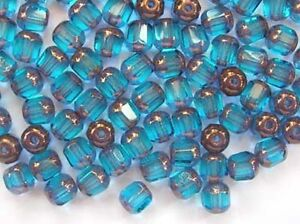 40-TURQUOISE-faceted-lantern-Czech-glass-beads-6mm