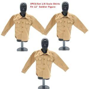 3pc-1-6-WWII-SS-gelb-Casual-Shirts-mit-Taschen-Soldat-Kleidung-Jacke-12-034-Figur