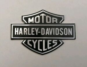 HARLEY-DAVIDSON-3D-METAL-BADGE-STICKER-GRAPHIC-DECAL-LOGO-BLACK-SILVER-ADHESIVE