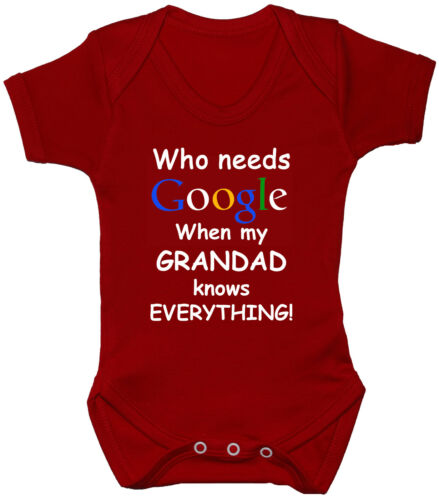 Who Needs Google Grandad Babygrow Bodysuit Romper Vest NB-24mths Funny Gift