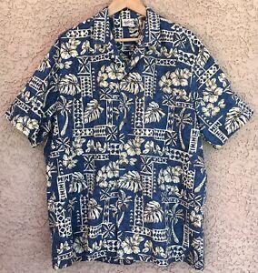 Royal-Creations-Men-s-XL-Hawaiian-Aloha-Blue-Camp-Shirt-Hibiscus-Palm-New